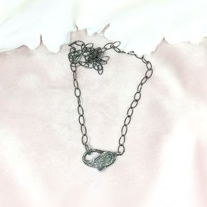 Diamond Oxidised Silver Lobster Clasp Necklace